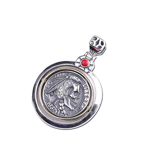 Hip-hop unique design skull men's pendant sterling silver 925