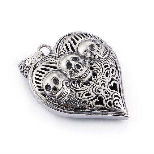 Silver retro heart-shaped skull pendant sterling silver 925