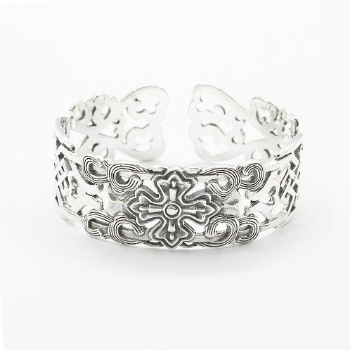 Silver hollow-out cross bracelet sterling silver 925
