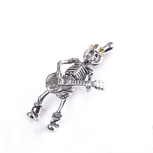 Unique design guitar skull men's pendant sterling silver 925