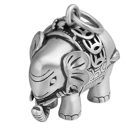 Retro silver elephant sweater pendant sterling silver 925 retro style