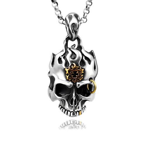 Silver retro skull men's pendant sterling silver 925