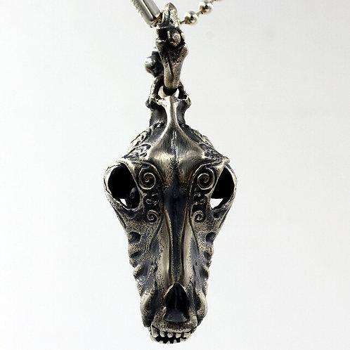 Wolf skull animal head pendant sterling silver 925 punk style
