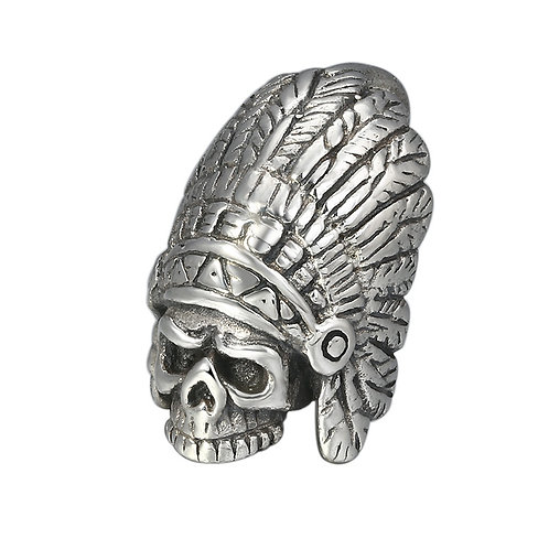 Indian chief skull pendant sterling silver 925 retro style