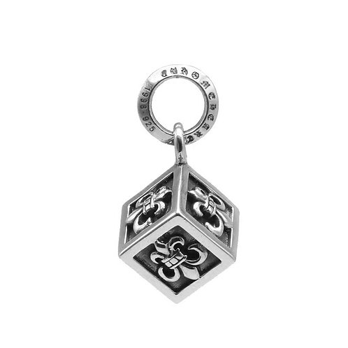 Retro punk cube anchor sweater pendant sterling silver 925