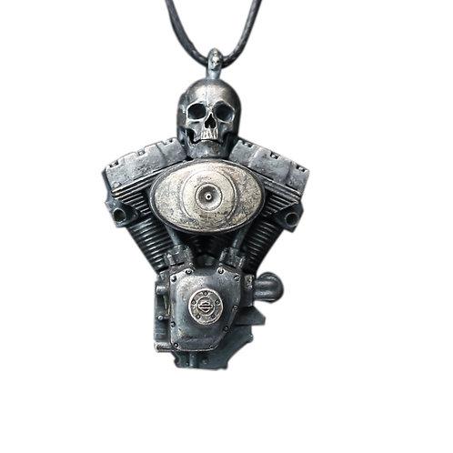 Western locomotive unique skull pendant sterling silver 925