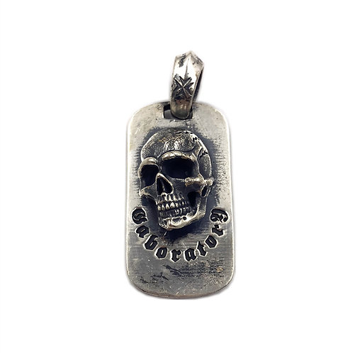 Hip-hop skull dog tag pendant sterling silver 925 punk style