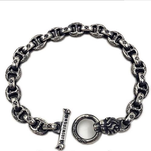 Gabor lion head meteorite crater silver bracelet sterling silver 925