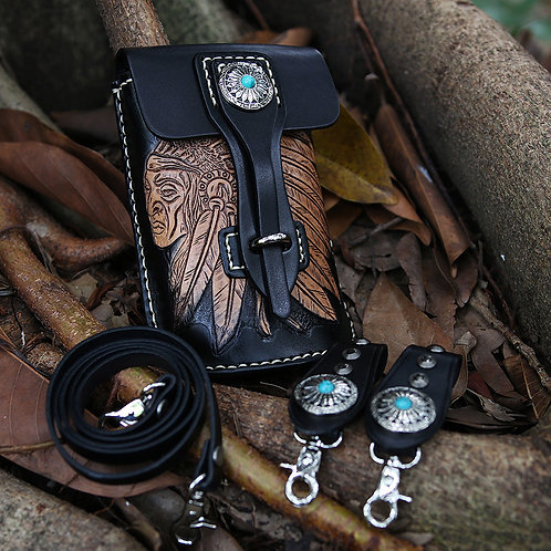 Creative design handmade full-grain cow leather waist bag