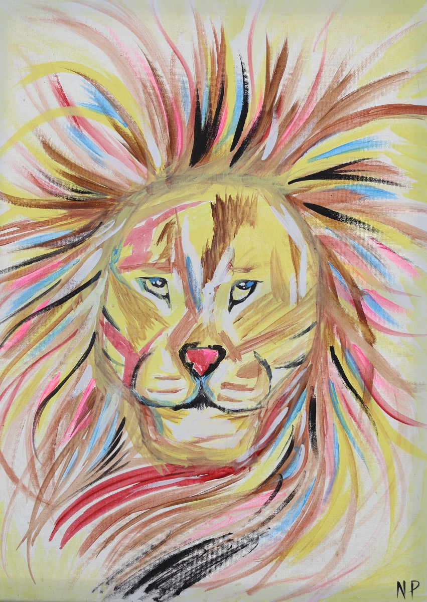 Painting by Nathaniel Pruitt A colorful and unique rendition of a lion created by the young artists Nathaniel Pruitt.