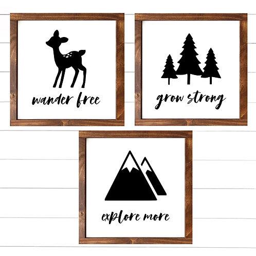 Wander, Explore, Grow - Set of 3