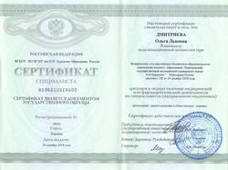 Сертификат о профессиональной переподготовке по ОЗД