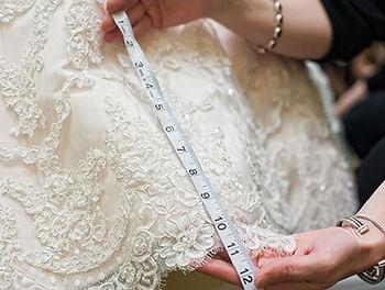 Measuring tape on dress