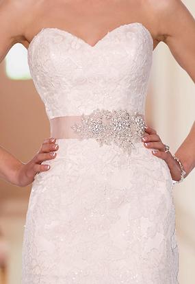 Strapless wedding dress with decorative belt
