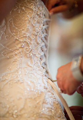 View of dress being laced