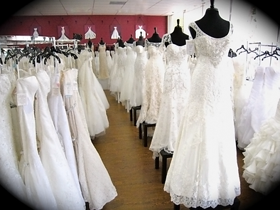 Kay's Bridal show room with gowns