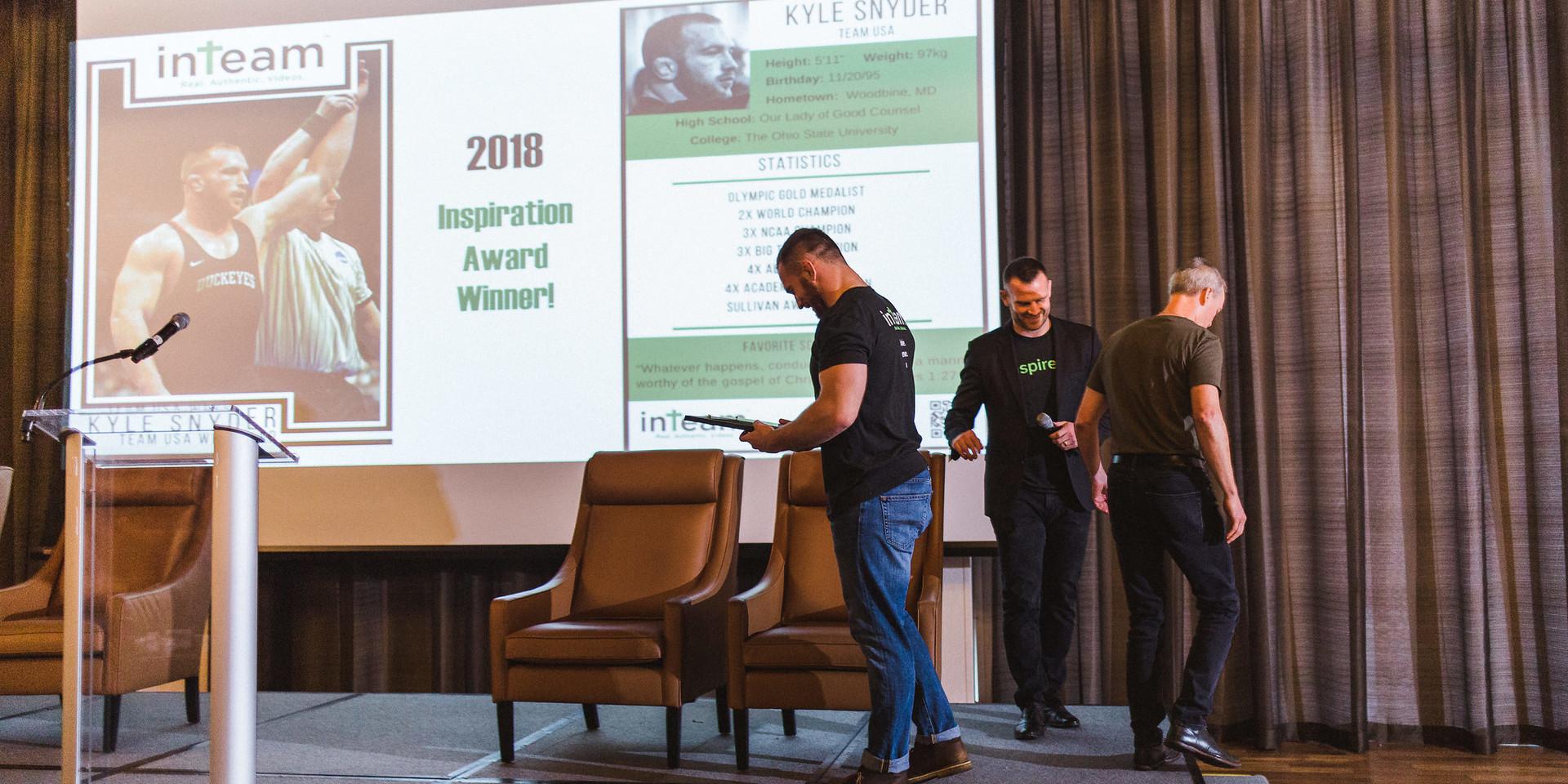 Kyle Snder Accepting Inspiration Award