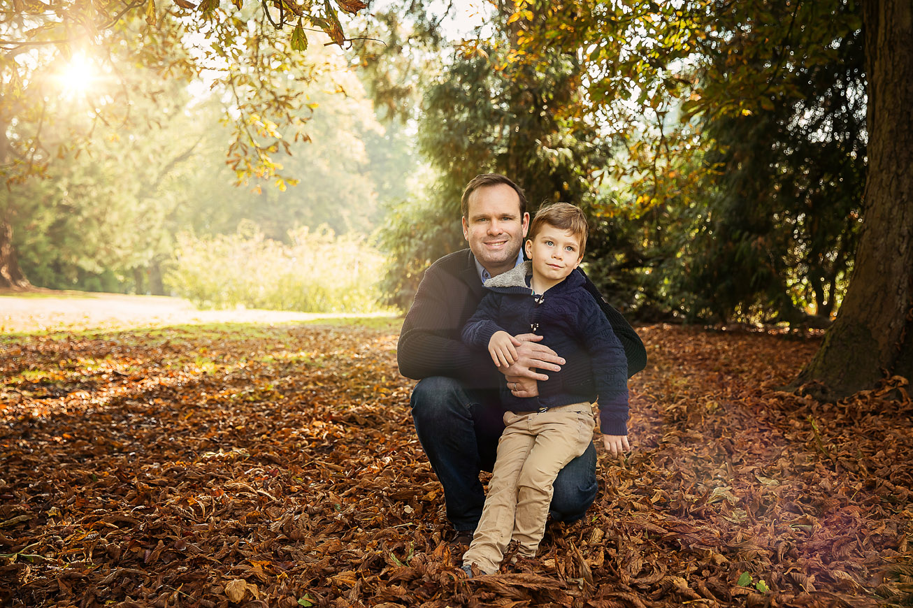 dad and Boy in the Leaves Waddesdon