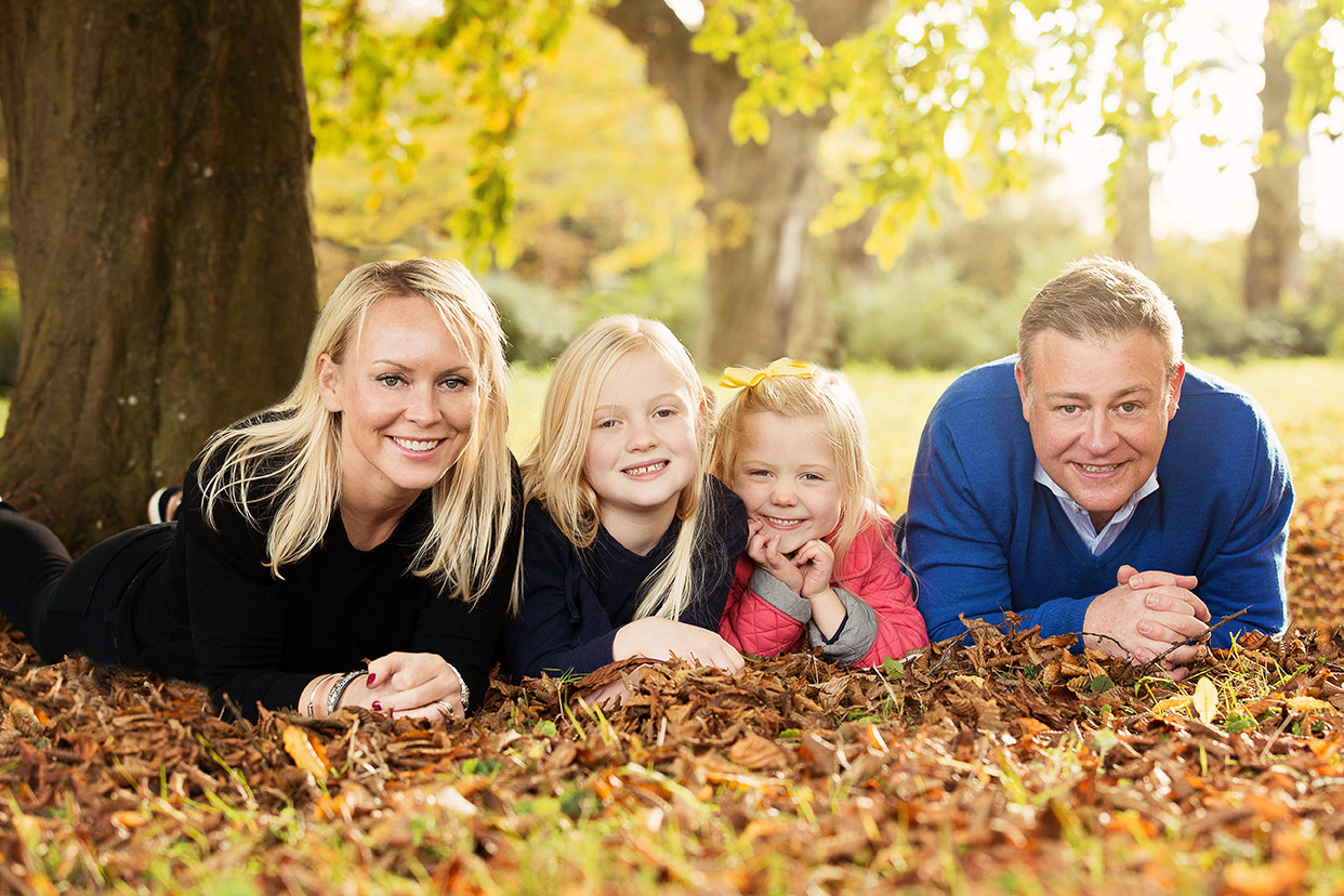 Family in Leaves Waddesdon