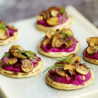 Beetroot Blinis with Garlicky Mushrooms.
