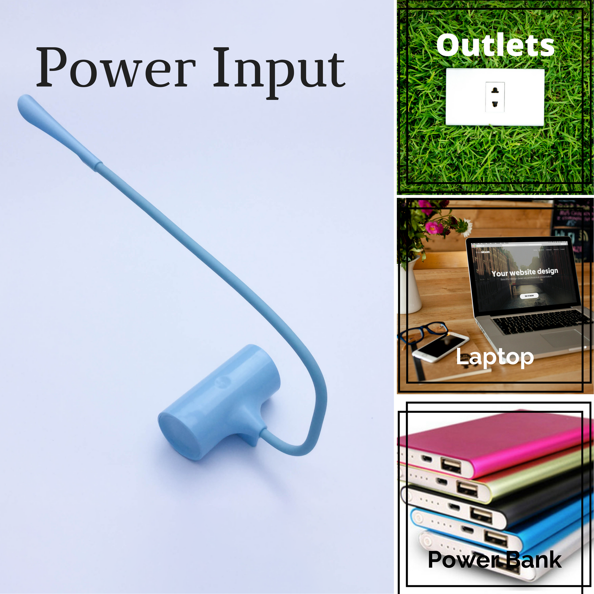 Different Power Input sources_power_bank_laptop_outlet