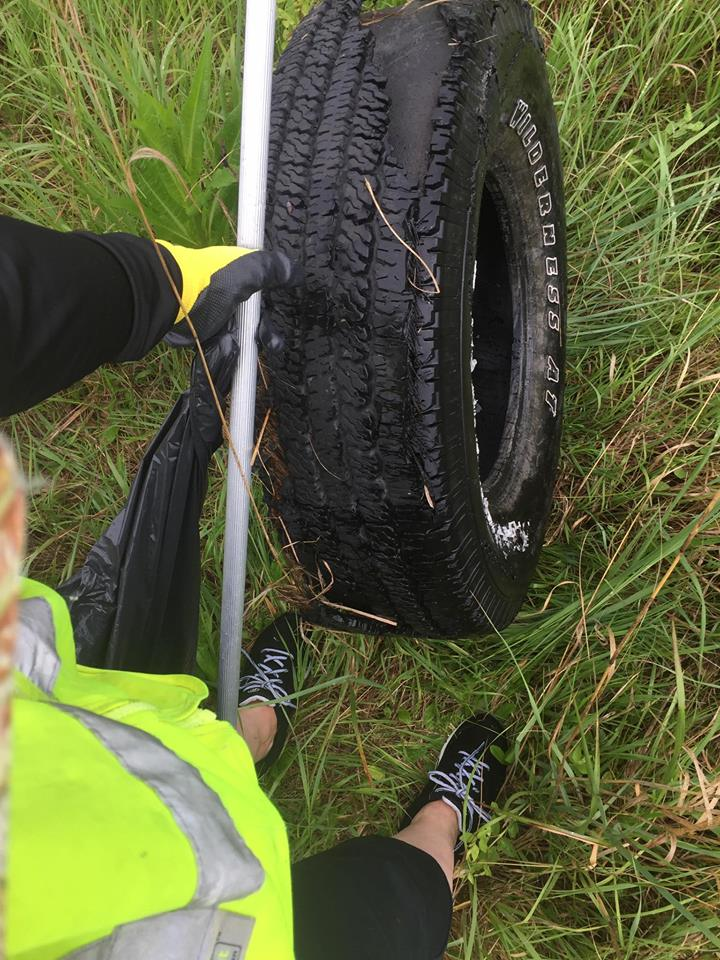 Cleaning up litter along K7 Hwy