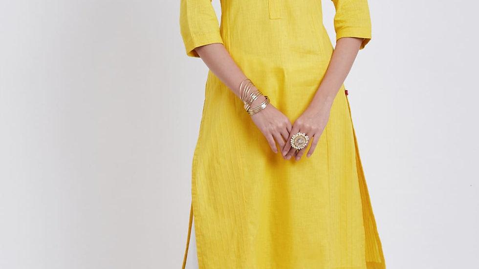 Biba Yellow Cotton Straight Kurta