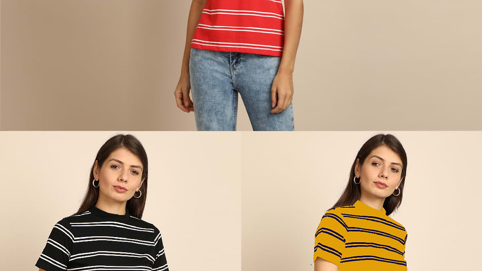 B&C Bold And Classic Stripe Tshirt For Women Beyonce - Pack of 3
