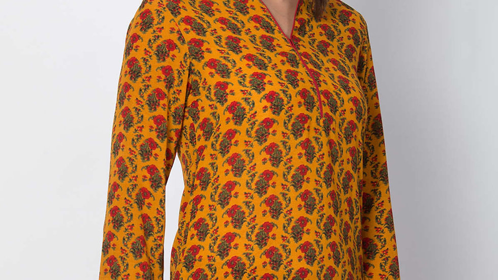 Biba Yellow Art Silk Straight Kurti