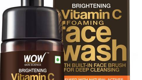 WOW Skin Science Brightening Vitamin C Foaming with Built-In Face Brush
