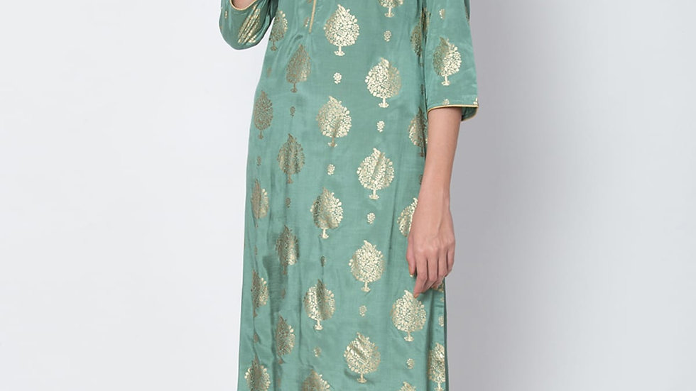 Biba Green Viscose Straight Kurta