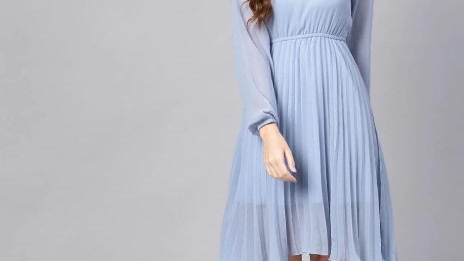 Skater Solid Knee Length Dress