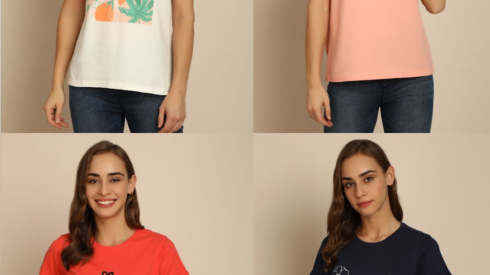 B&C Bold and Classic Women Graphic Tshirt Ariana - Pack of 4