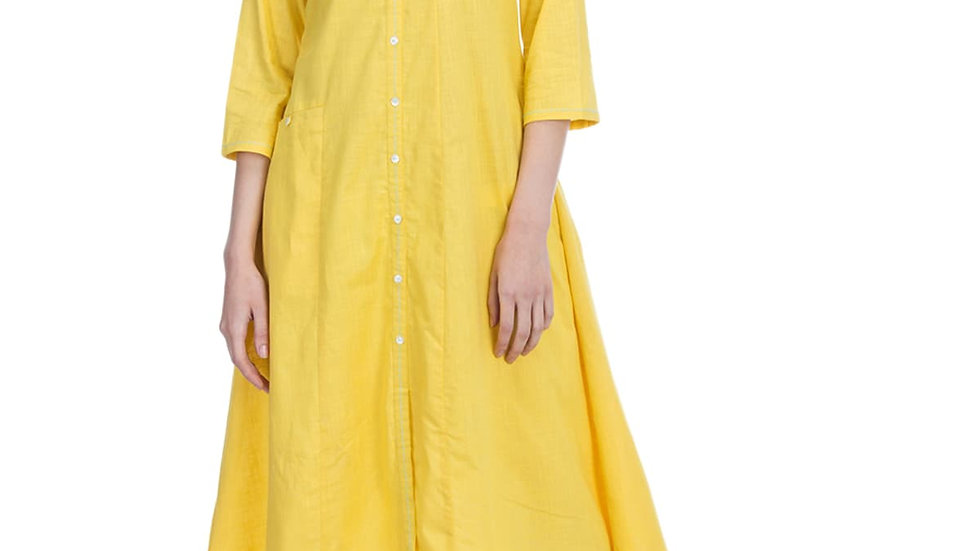 Biba Yellow A Line Cotton Kurta