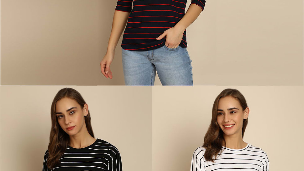 B&C Bold And Classic Stripe Tshirt For Women - Pack of 3