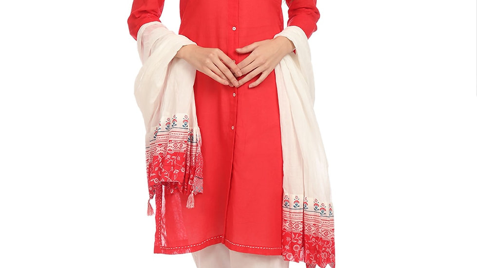 Biba Red Straight Cotton Kurta