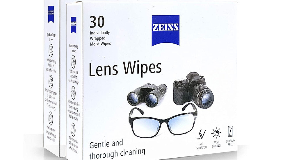 Zeiss Pre-Moistened Lens Cleaning Wipes for Spectacles, Mobiles (2x30)Pcs