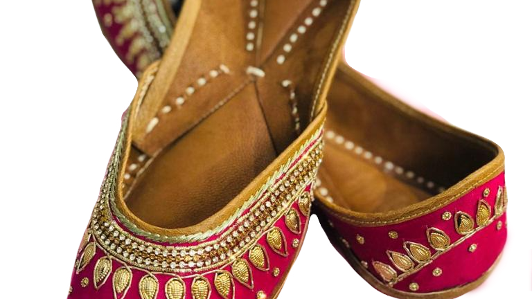 Pink Handmade Jutti with golden work by Buckled Wardrobe