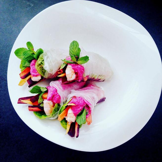 Rouleaux aux légumes et crevettes