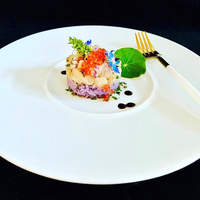 Ceviche de poisson de roche et saumon