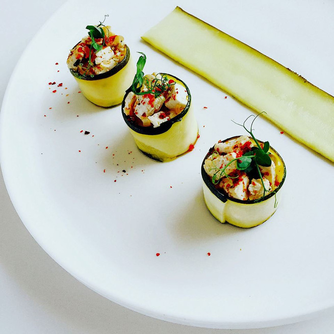 Tagliatelles de courgettes au tofu ail et persil