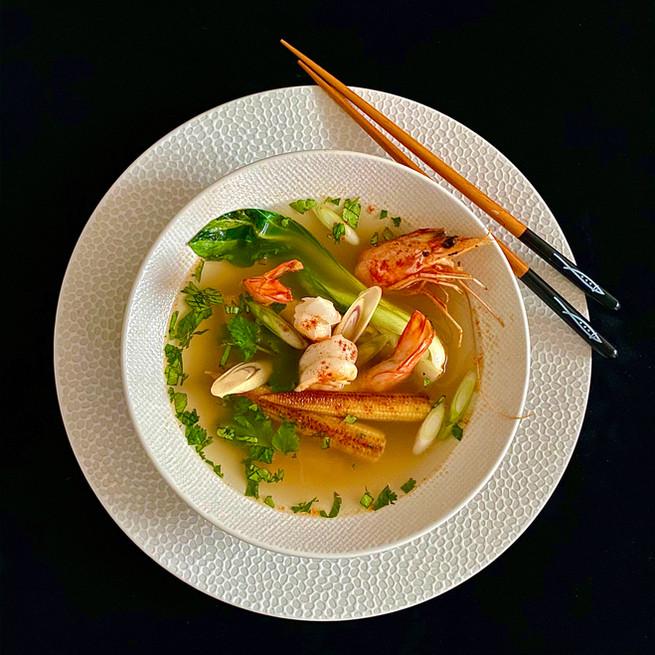 Soupe aux gambas et saveurs Thaïlandaises