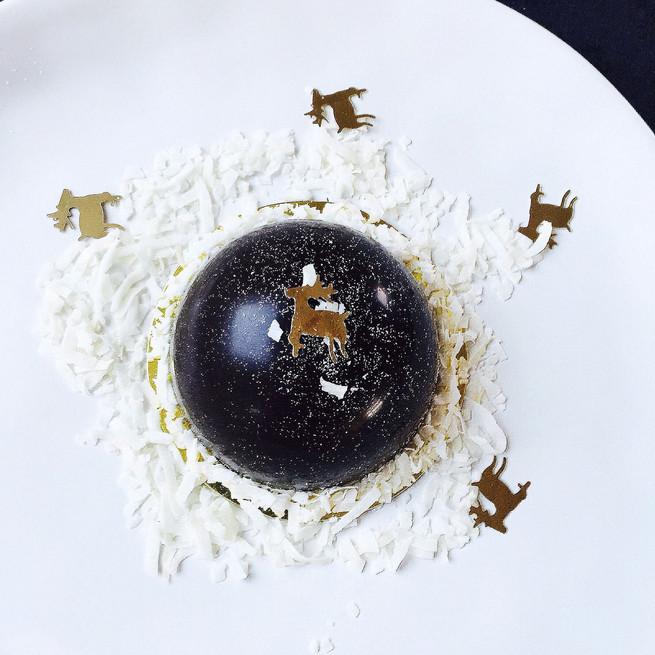 Dôme chocolat, ganache caramel