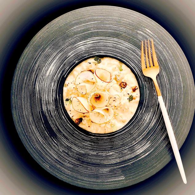 Risotto poire, gorgonzola, noix de pécan caramélisées