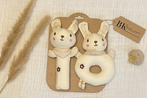 Organic Cotton Baby Rattle Set
