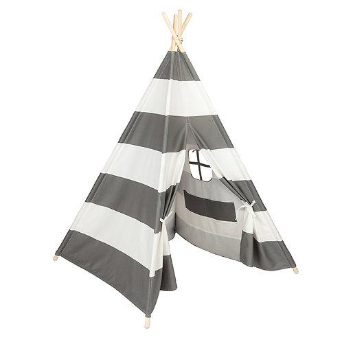 White & Grey Stripe Teepee/ Tipi
