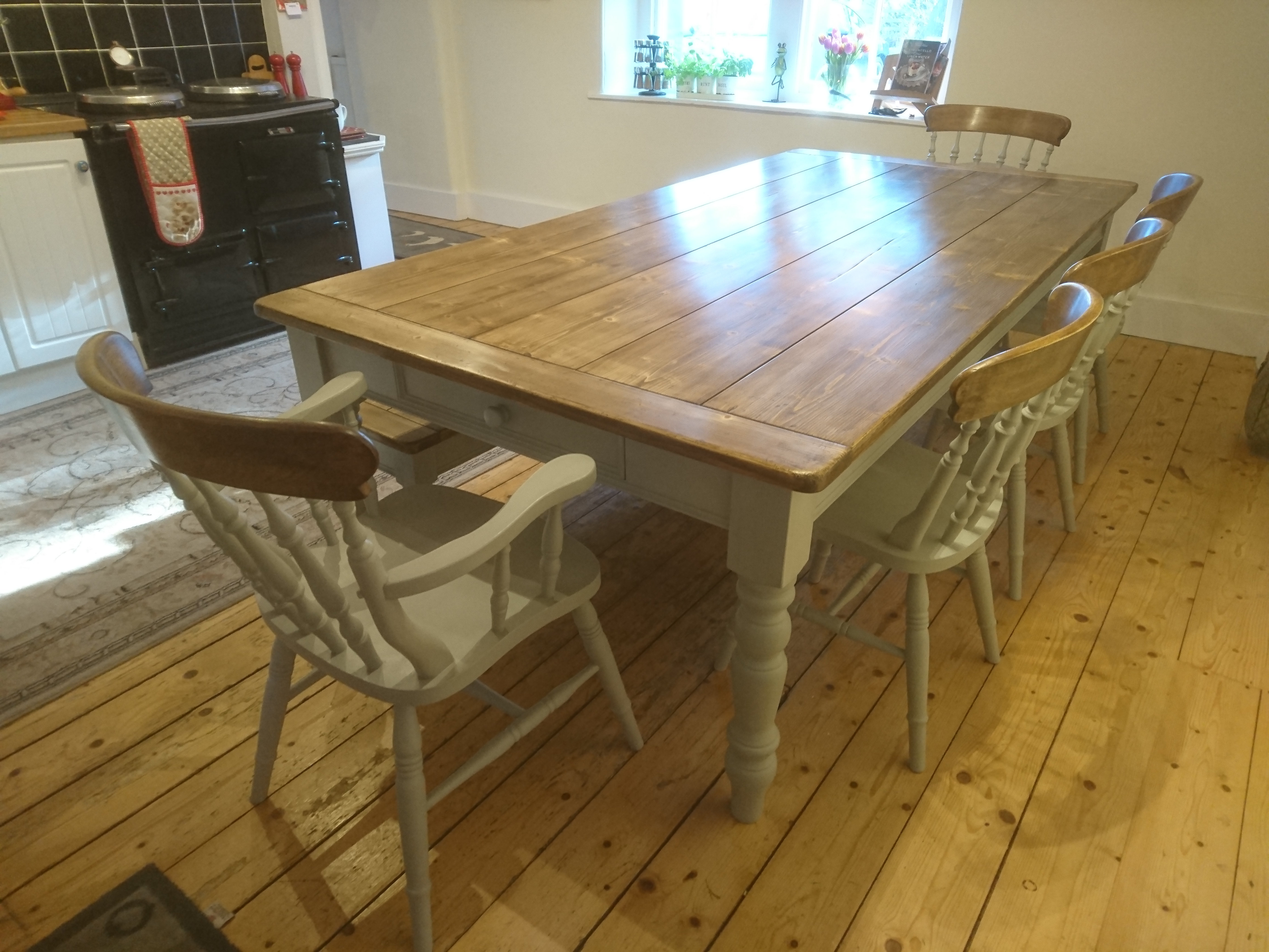 Vintage Pine Farmhouse Table 8ft X 32 Seats 8 To 10 People Chairs Not I Website