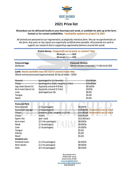 Blue Dasher Product Price List April 202