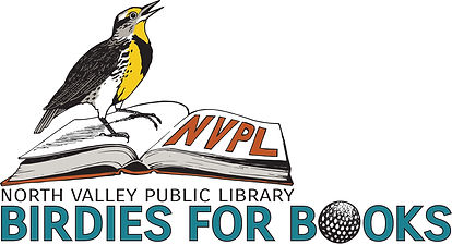 NVPL Birdies for Books with a bird sitting on an open book