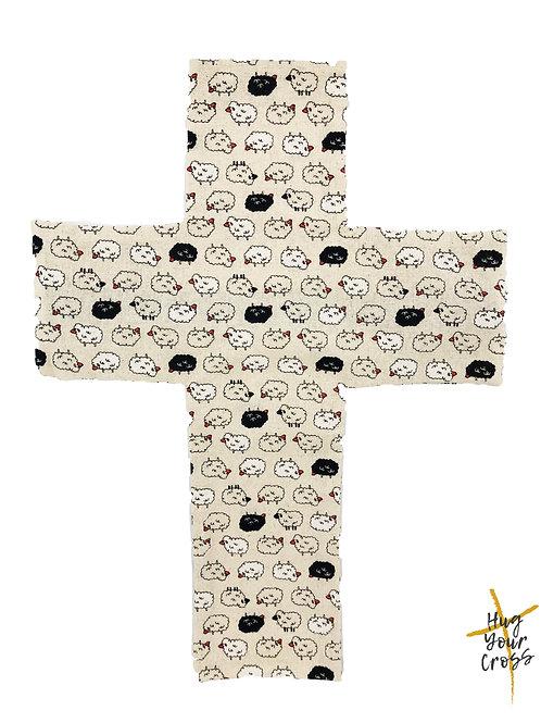 My Little Fluffy Sheep Cross Pillow Cover- Black
